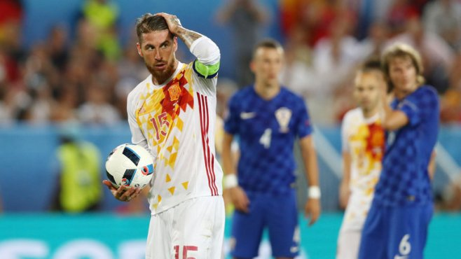 Sergio Ramos missed a penalty in Spain's 2-1 loss to Croatia image: skysports.com
