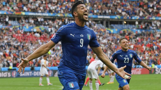 Graziano Pelle celebrates as Italy beat holders Spain 2-0 image: skysports.com