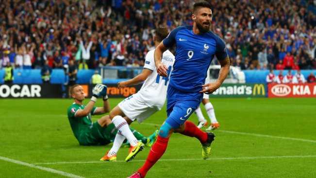 Olivier Giroud scored twice in France's big win over Iceland image: footballepl.com