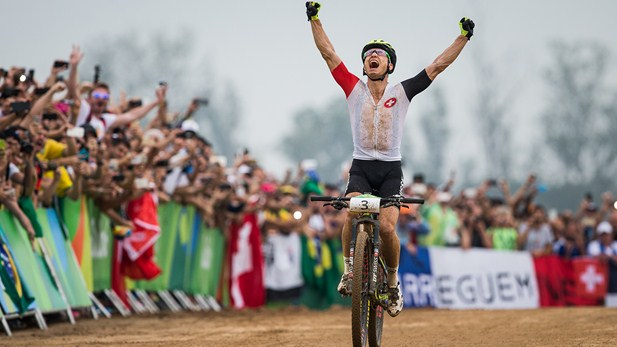 Nino Schurter finally won gold after silver and bronze at the last two Olympics image: uci.ch