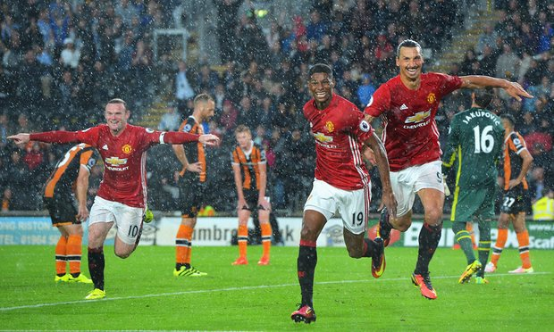 Marcus Rashford scored a late winner for Man Utd against Hull image: theguardian.com