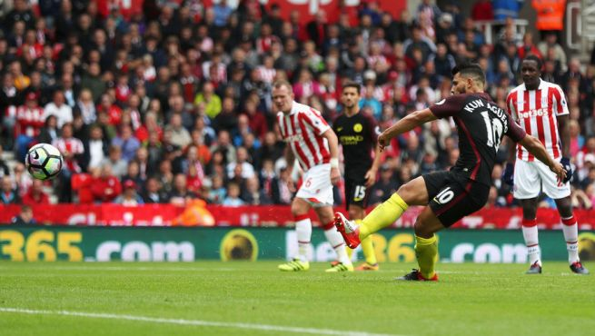 Sergio Aguero scored twice in Man City's big win at Stoke image: 90min.com