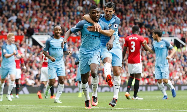 A strong first half helped Man City keep their 100% record alive against Man Utd image: theguardian.com
