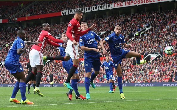 Chris Smalling opened the socring in Man Utd's big win over Leicester image: punditarena.com