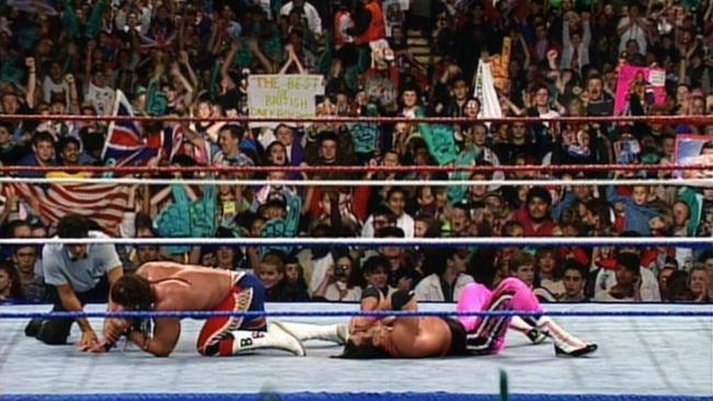 British Bulldog beat Bret Hart in his home country to win the Intercontinental title image: wwe.com