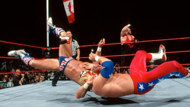 Hart Foundation overcame The Patriot and Vader in a disastrous Flag match image: thetattoohut.com