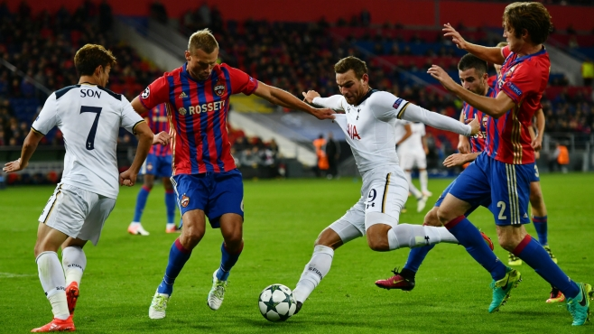 Tottneham picked up their first win of the group at CSKA Moscow image: goal.com