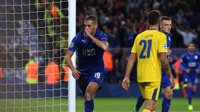 Islam Slimani scored the only goal in Leicester's 1-0 win over Porto image: skysports.com