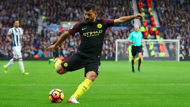 Sergio Aguero bagged a barce in Man Cty's 4-0 win over West Brom image: youtube.com