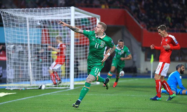 James McClean scored his third goal in two Irish games to give Ireland a third win in four games image: theguardian.com