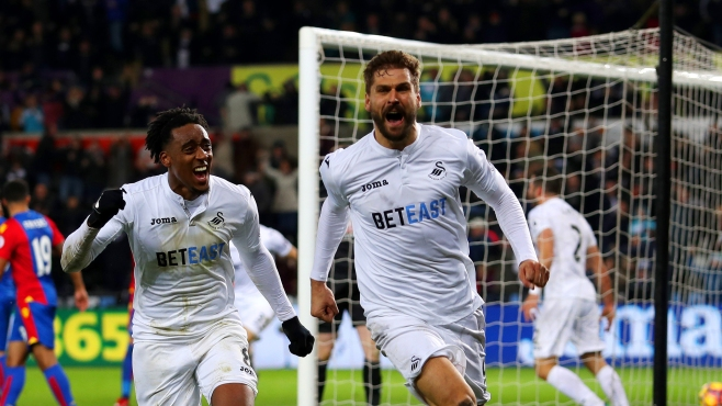 Fernando Llorente's two late goals saw Swansea edge out fellow struggers Crystal Palace image: skysports.com