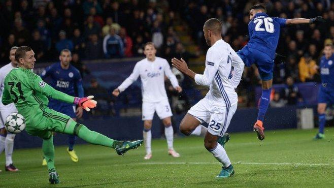 Royad Mahrez scored the only goal in Leicester's 1-0 win over Copenhagen image: slysports.com