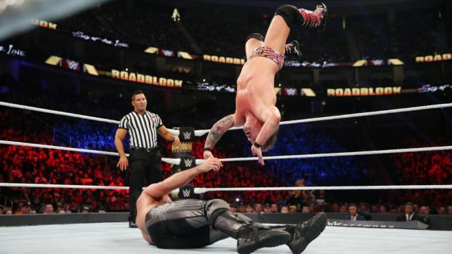 Chris Jericho hits the lionsault but it was Seth Rollins who grabbed the win image: wwe.com