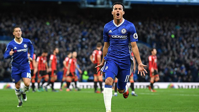 Pedro's double helped Chelsea to a club record 12th win on the bounce image: chelseafc.co.uk