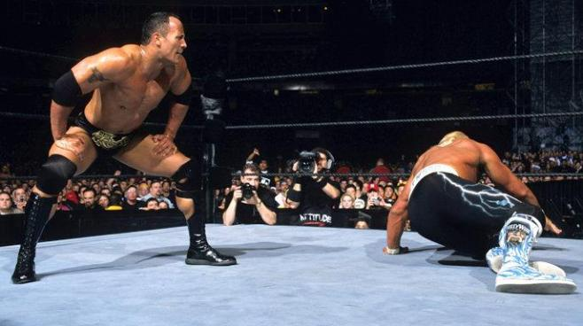The Rock beat Hulk Hogan in an epic showdown at WrestleMania X8 image: wwe.com