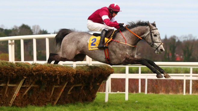 Petit Mouchoir beat favourite Nichols Canon to the Ryanair chase at Leopardstown image: rte.ie