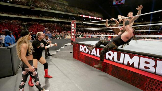 Braun Strowman clings on but was soon eliminated by Baron Corbin image: wwe.com