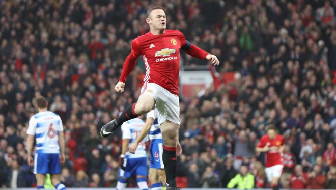 Wayne Rooney equalled Sir Bobby Charlton's golascoring record for Man United image: 90min.com