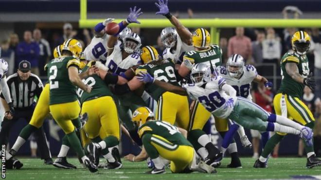 Greeb Bay Packers snatched a thrilling late win over Dallas Cowboys image: bbc.com