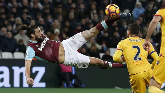 Andy Carroll scored a goal of the season contender in West Ham's 3-0 win over Crystal Palace image: skysports.com