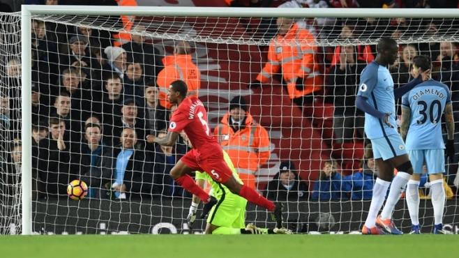 Giorgino Wijnaldum headed Liverpool to victory over Man City image: skysports.com