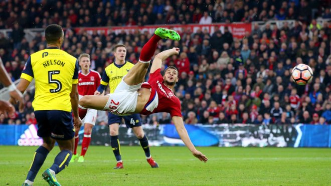 Rudy Gestede scored the goal of the round as Middlesbrough knocked out Oxford image: skysports.com