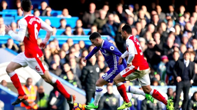 Eden Hazard scored the pick of the bunch in Chelsea's 3-1 win over Arsenal image: itv.com