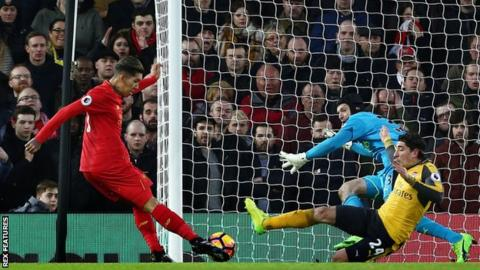 Roberto Firmino's third goal in four games against Arsenal helped Liverpool to a big win image: bbc.com